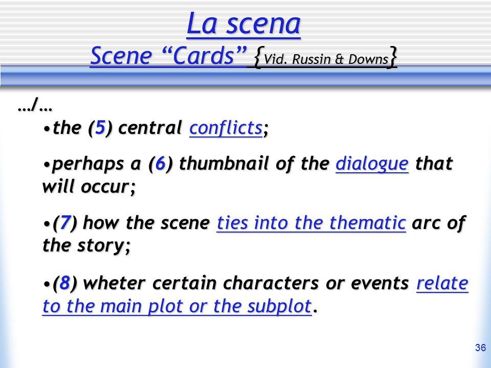 """36 La scena Scene """"Cards"""" { Vid. Russin & Downs } …/… the (5) central conflicts;the (5) central conflicts; perhaps a (6) thumbnail of the dialogue tha"""