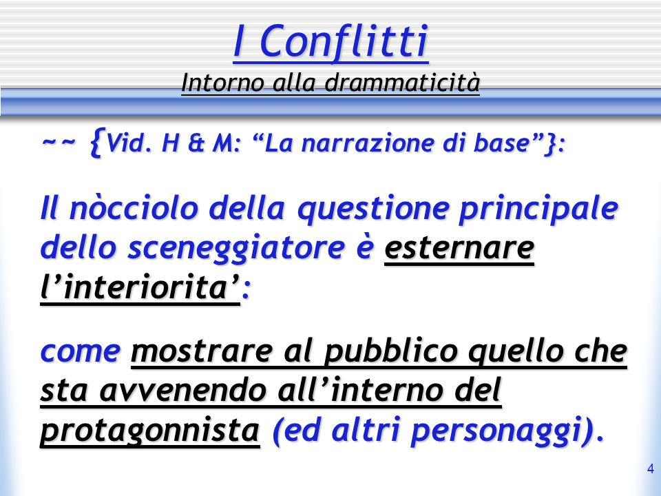 15 Conflitti Dramatici Tipologia (Russin & Downs - Howard Suber) 3- Character vs.