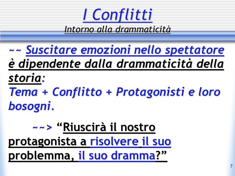 7 I Conflitti Intorno alla drammaticità ~~ Suscitare emozioni nello spettatore è dipendente dalla drammaticità della storia: Tema + Conflitto + Protagonisti e loro bosogni.