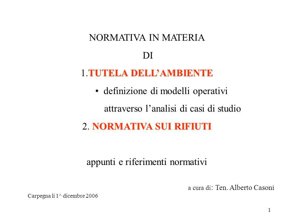 1 NORMATIVA IN MATERIA DI TUTELA DELL'AMBIENTE 1.TUTELA DELL'AMBIENTE definizione di modelli operativi attraverso l'analisi di casi di studio NORMATIVA SUI RIFIUTI 2.