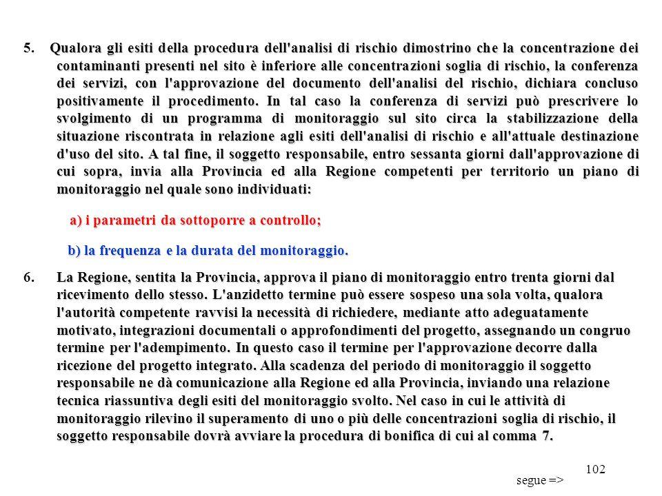 101 Qualora l'indagine preliminare di cui al comma 2 accerti l'avvenuto superamento delle Csc anche per un solo parametro, il responsabile dell'inquin