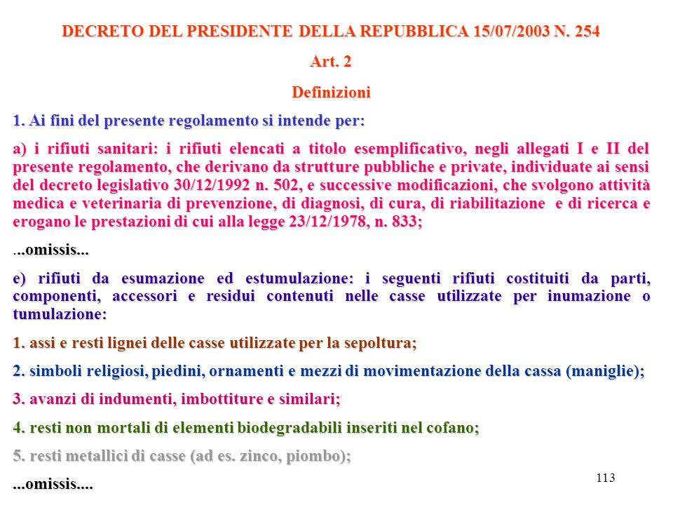 112 DECRETO DEL PRESIDENTE DELLA REPUBBLICA 15/07/2003 N. 254 Regolamento recante la disciplina per la gestione dei rifiuti sanitari a norma dell'art.