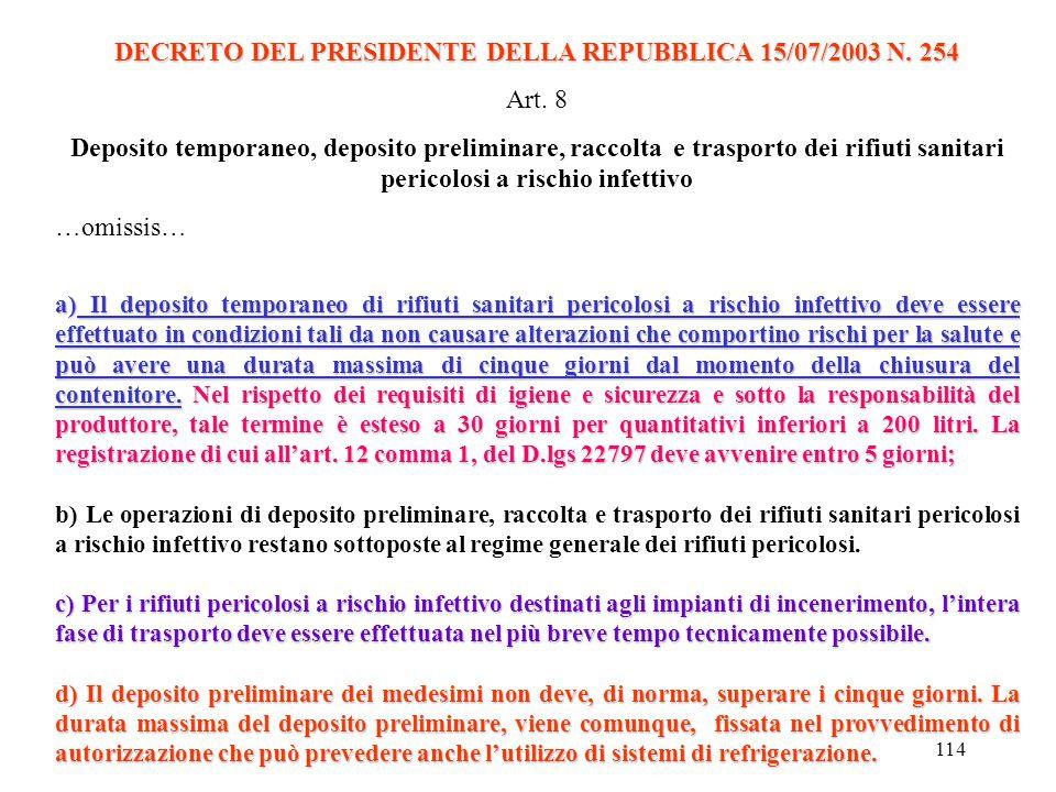 113 DECRETO DEL PRESIDENTE DELLA REPUBBLICA 15/07/2003 N. 254 Art. 2 Definizioni 1. Ai fini del presente regolamento si intende per: a) i rifiuti sani
