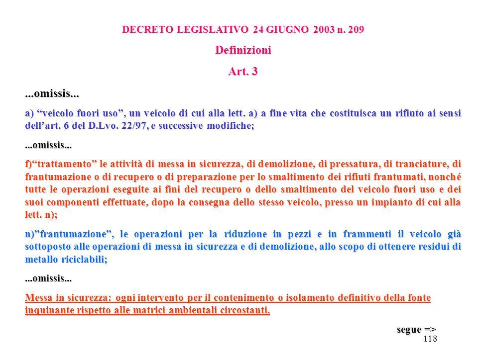 117 DECRETO LEGISLATIVO 24 GIUGNO 2003 n. 209 Obiettivi Art. 2 Il presente decreto ha lo scopo: a) di ridurre al minimo l'impatto dei veicoli fuori us