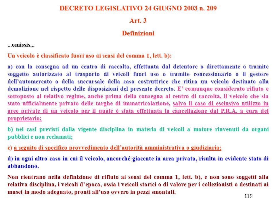 """118 DECRETO LEGISLATIVO 24 GIUGNO 2003 n. 209 Definizioni Art. 3...omissis... a) """"veicolo fuori uso"""", un veicolo di cui alla lett. a) a fine vita che"""