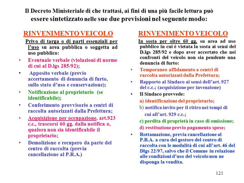 120 DECRETO MINISTERIALE 22/10/1999, n. 460 (Regolamento recante disciplina dei casi e delle procedure di conferimento ai centri di raccolta dei veico