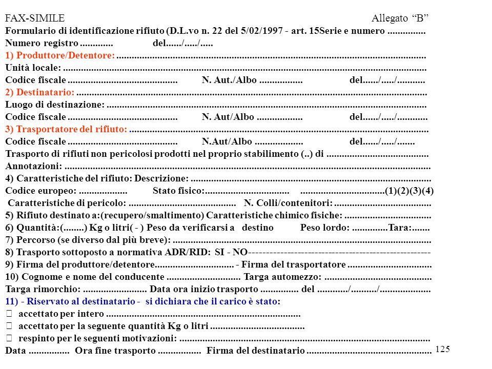 124 MODALITA' DI COMPILAZIONE DEL FORMULARIO DI IDENTIFICAZIONE DEI RIFIUTI l formulario va compilato in quattro copie di cui tre a ricalco; Il formul