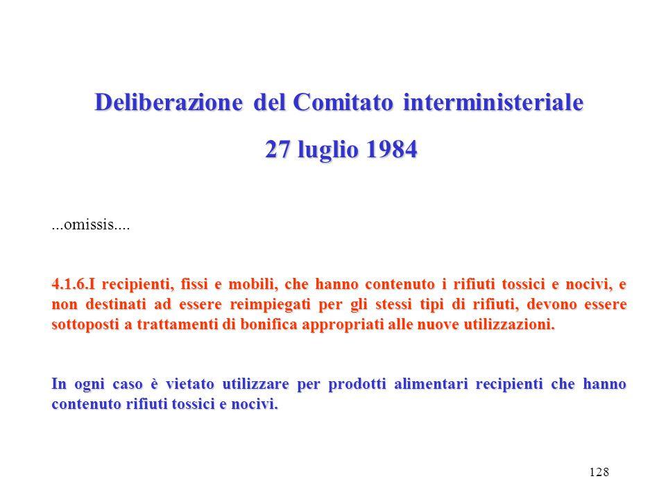 127 Deliberazione del Comitato interministeriale 27 luglio 1984 27 luglio 1984...omissis... 2.3.Trasporto dei rifiuti tossici e nocivi di cui al punto