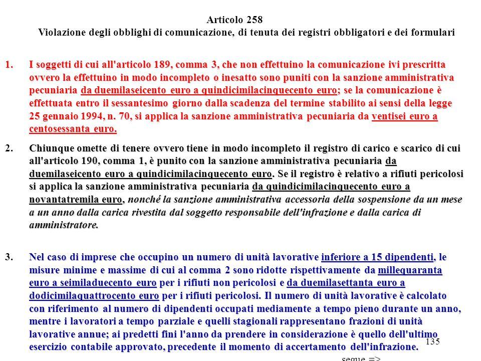 134 Bonifica dei siti Articolo 257 1. Chiunque cagiona l'inquinamento del suolo, del sottosuolo, delle acque superficiali o delle acque sotterranee co