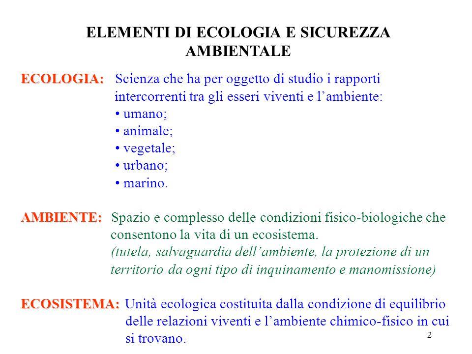 2 ECOLOGIA: ECOLOGIA:Scienza che ha per oggetto di studio i rapporti intercorrenti tra gli esseri viventi e l'ambiente: umano; animale; vegetale; urbano; marino.