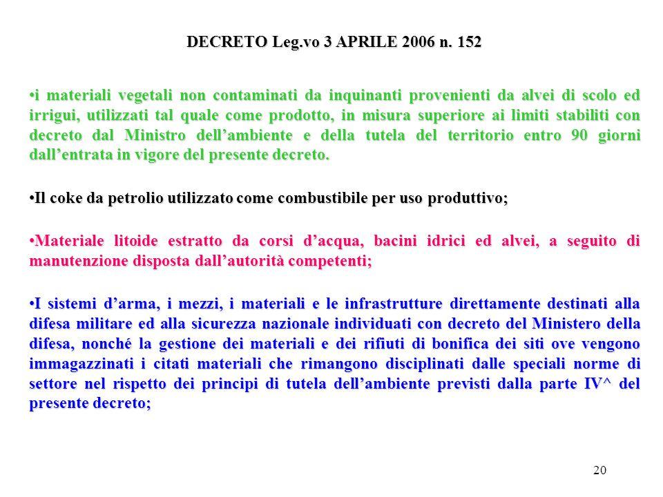 19 Limiti al campo di applicazione art. 185 Non rientrano nel campo di applicazione della parte IV^ del presente decreto: Le emissioni costituite da e