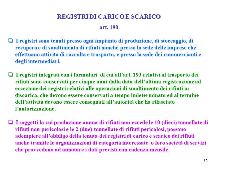 31 REGISTRI DI CARICO E SCARICO art. 190 I soggetti di cui all'art. 189, comma 3, hanno l'obbligo di tenere un registro di carico e scarico, su cui de