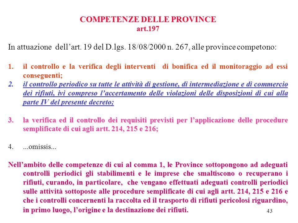 42 COMPETENZE DELLE REGIONI Art. 196 Sono di competenza delle regioni, nel rispetto dei principi previsti dalla normativa vigente, e dalla parte quart