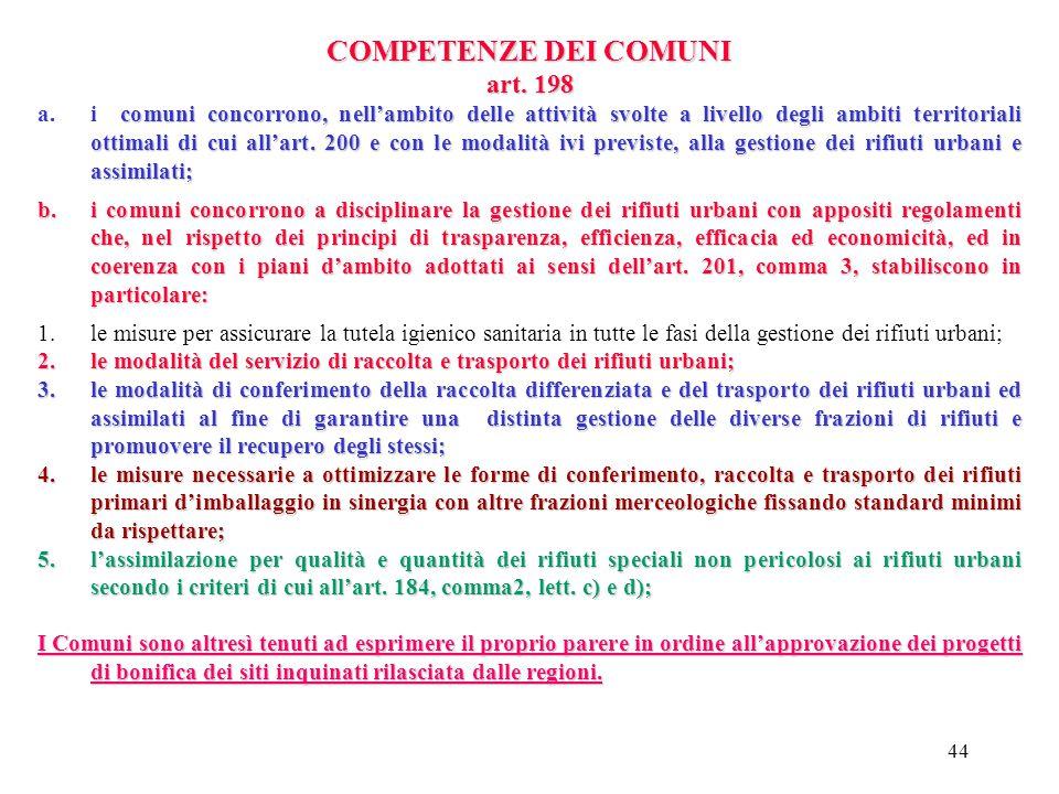 43 COMPETENZE DELLE PROVINCE art.197 In attuazione dell'art. 19 del D.lgs. 18/08/2000 n. 267, alle province competono: 1.il controllo e la verifica de