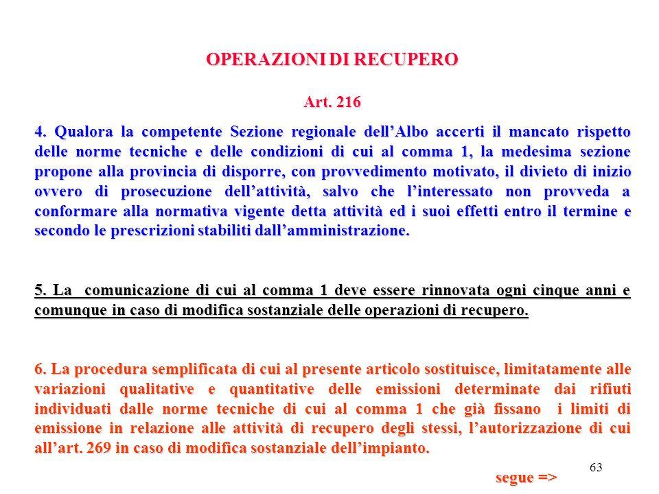 62 OPERAZIONI DI RECUPERO Art. 216 per i rifiuti pericolosi: a.le quantità massime impiegabili b.la provenienza, i tipi e le caratteristiche dei rifiu