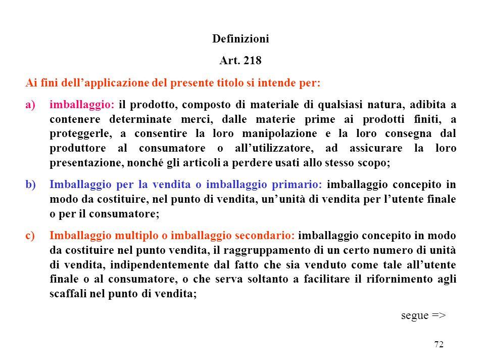"""71 TITOLO II """"GESTIONE DEGLI IMBALLAGGI"""" Ambito di applicazione Art. 217 Il presente titolo disciplina la gestione degli imballaggi e dei rifiuti di i"""