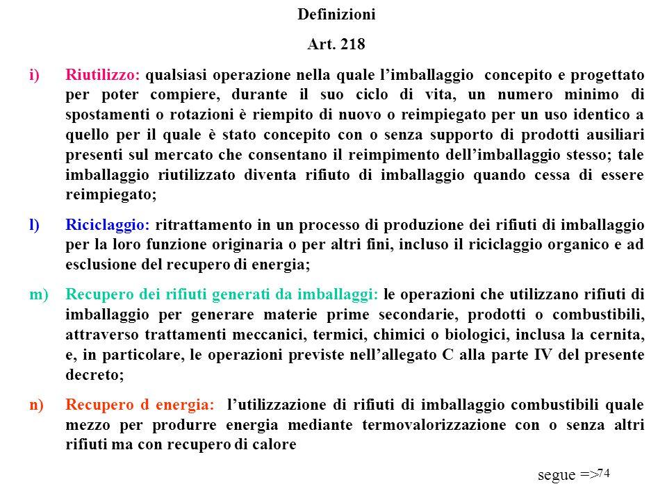 73 Definizioni Art. 218 d)Imballaggio per il trasporto o imballaggio terziario: imballaggio concepito in modo da facilitare la manipolazione de il tra