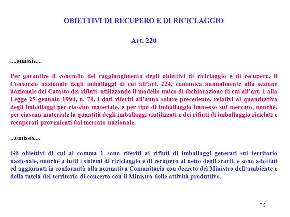 75 Definizioni Art. 218 o) Riciclaggio organico: il trattamento aerobico (compostaggio) o anaerobico (biometanizazione) ad opera di microrganismi e in
