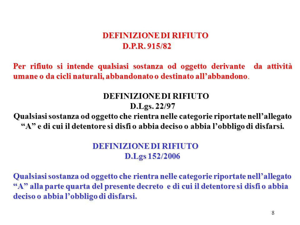 8 DEFINIZIONE DI RIFIUTO DEFINIZIONE DI RIFIUTO D.P.R.
