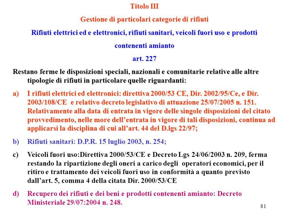 80 DECRETO Leg.vo 3 APRILE 2006 n. 152 Consorzi obbligatori CO.NA.ICO.NA.I CO.BATCO.BAT CO.RE.PLACO.RE.PLA COOUCOOU CONSORZIO NAZIONALE DI RACCOLTA E