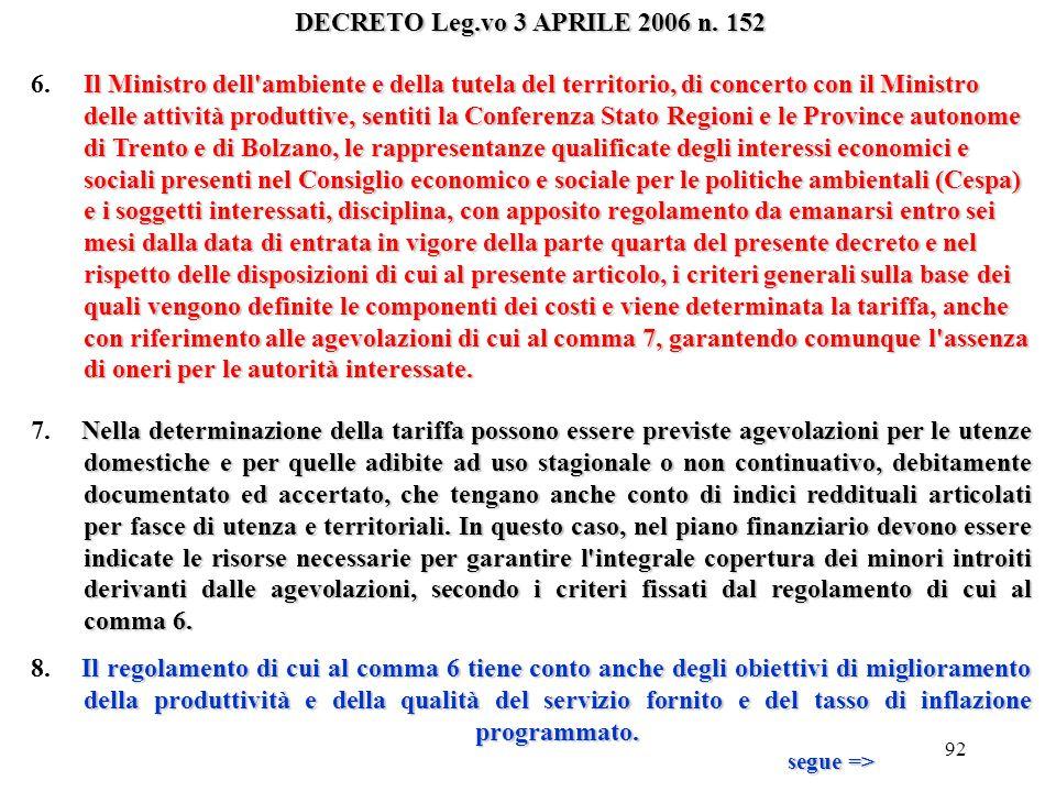 91 DECRETO Leg.vo 3 APRILE 2006 n. 152 La tariffa è determinata, entro tre mesi dalla data di entrata in vigore del decreto di cui al comma 6, dalle A