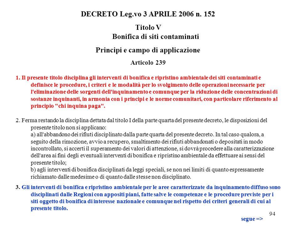 93 DECRETO Leg.vo 3 APRILE 2006 n. 152 9.L'eventuale modulazione della tariffa tiene conto degli investimenti effettuati dai Comuni o dai gestori che