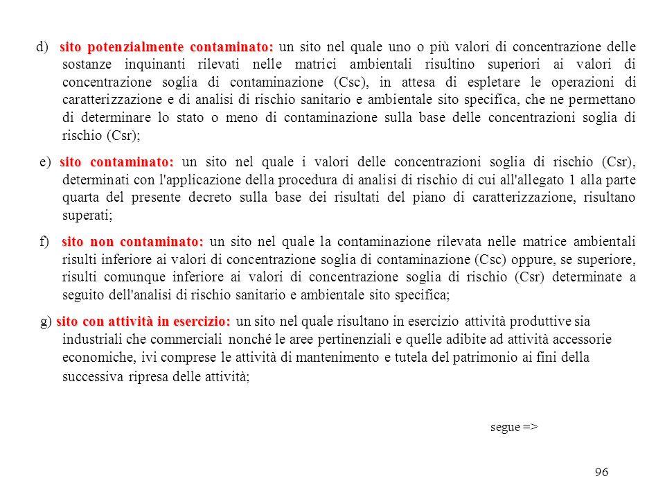 95 DECRETO Leg.vo 3 APRILE 2006 n. 152 Definizioni Articolo 240 1.Ai fini dell'applicazione del presente titolo, si definiscono: sito: a) sito: l'area