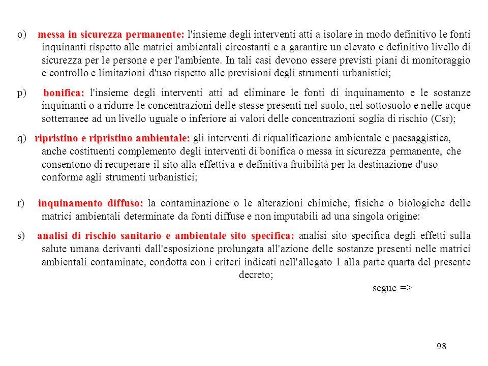 97 sito dismesso: h) sito dismesso: un sito in cui sono cessate le attività produttive; misure di prevenzione: i) misure di prevenzione: le iniziative