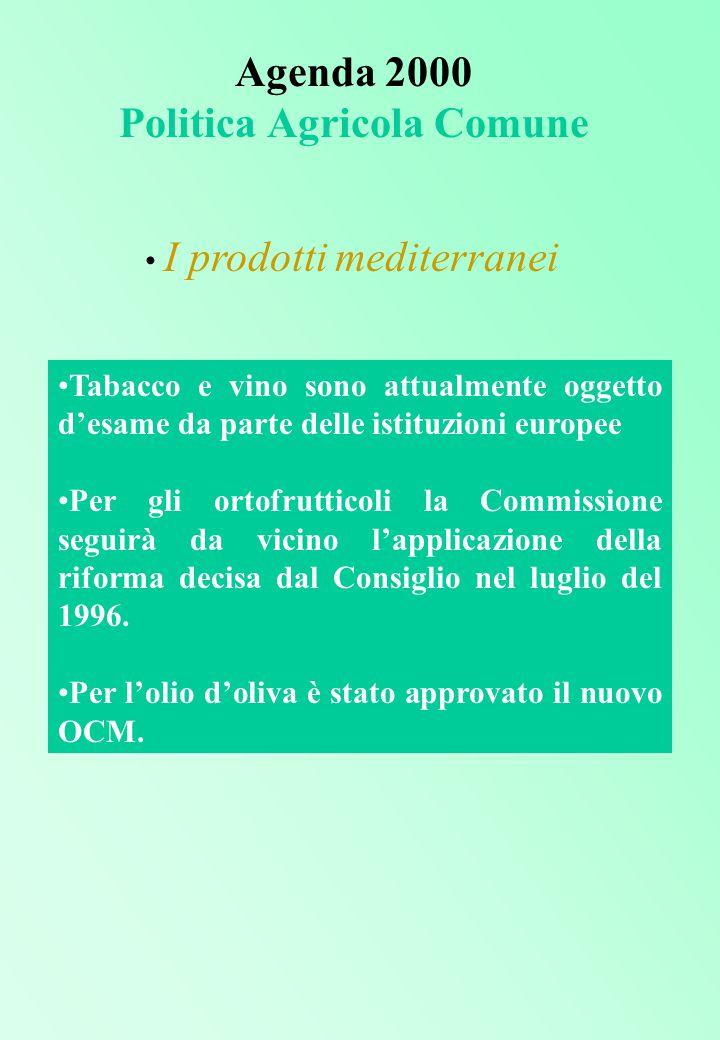Agenda 2000 Politica Agricola Comune I prodotti mediterranei Tabacco e vino sono attualmente oggetto d'esame da parte delle istituzioni europee Per gli ortofrutticoli la Commissione seguirà da vicino l'applicazione della riforma decisa dal Consiglio nel luglio del 1996.