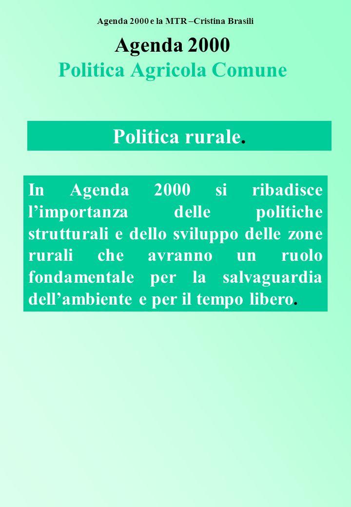 Agenda 2000 Politica Agricola Comune In Agenda 2000 si ribadisce l'importanza delle politiche strutturali e dello sviluppo delle zone rurali che avranno un ruolo fondamentale per la salvaguardia dell'ambiente e per il tempo libero.