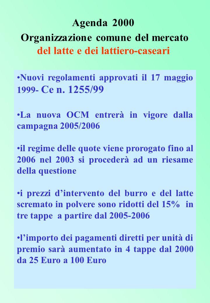 Agenda 2000 Organizzazione comune del mercato del latte e dei lattiero-caseari Nuovi regolamenti approvati il 17 maggio 1999- Ce n.