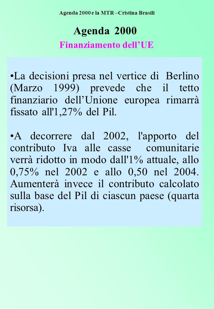 Agenda 2000 Finanziamento dell'UE La decisioni presa nel vertice di Berlino (Marzo 1999) prevede che il tetto finanziario dell'Unione europea rimarrà fissato all 1,27% del Pil.