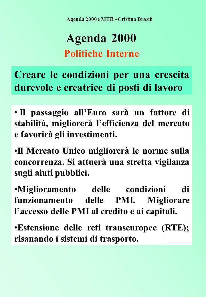 Agenda 2000 Politiche Interne Creare le condizioni per una crescita durevole e creatrice di posti di lavoro Il passaggio all'Euro sarà un fattore di stabilità, migliorerà l'efficienza del mercato e favorirà gli investimenti.