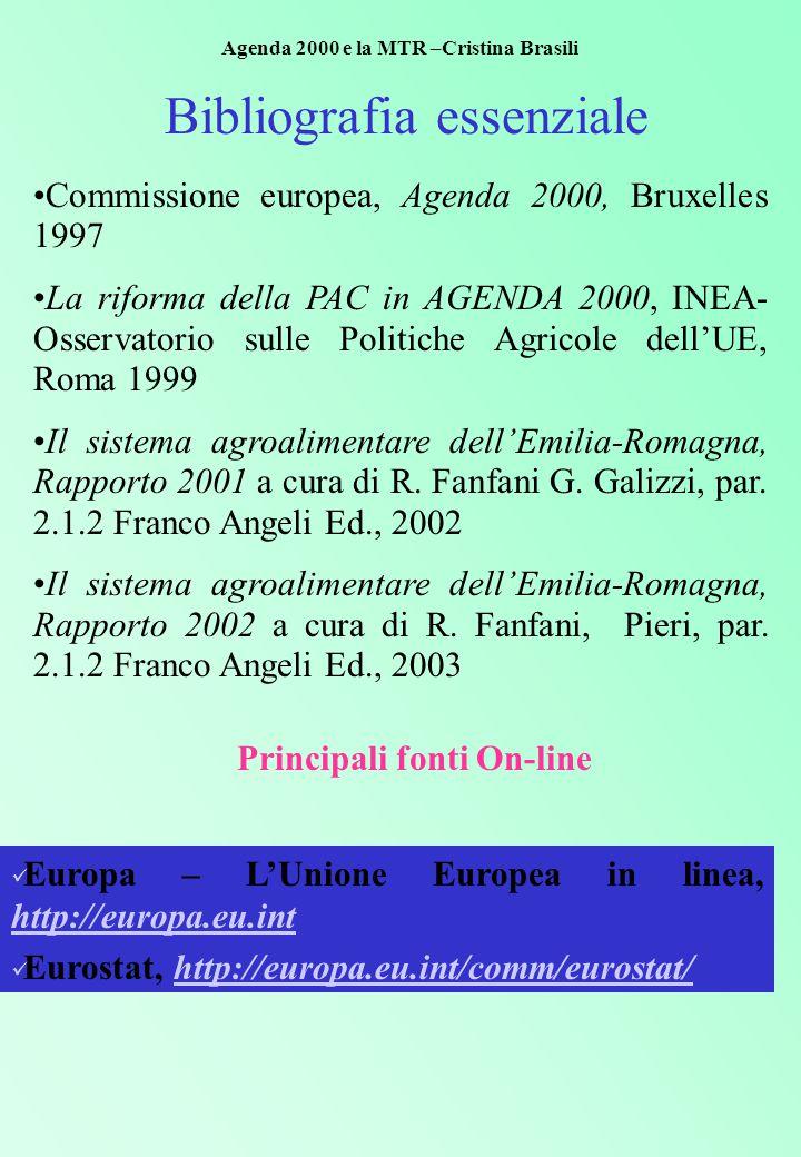 Bibliografia essenziale Commissione europea, Agenda 2000, Bruxelles 1997 La riforma della PAC in AGENDA 2000, INEA- Osservatorio sulle Politiche Agricole dell'UE, Roma 1999 Il sistema agroalimentare dell'Emilia-Romagna, Rapporto 2001 a cura di R.