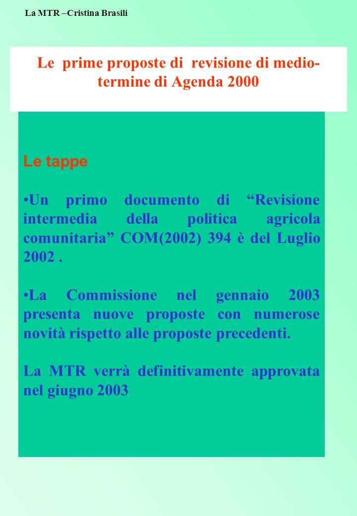 Le prime proposte di revisione di medio- termine di Agenda 2000 Le tappe Un primo documento di Revisione intermedia della politica agricola comunitaria COM(2002) 394 è del Luglio 2002.