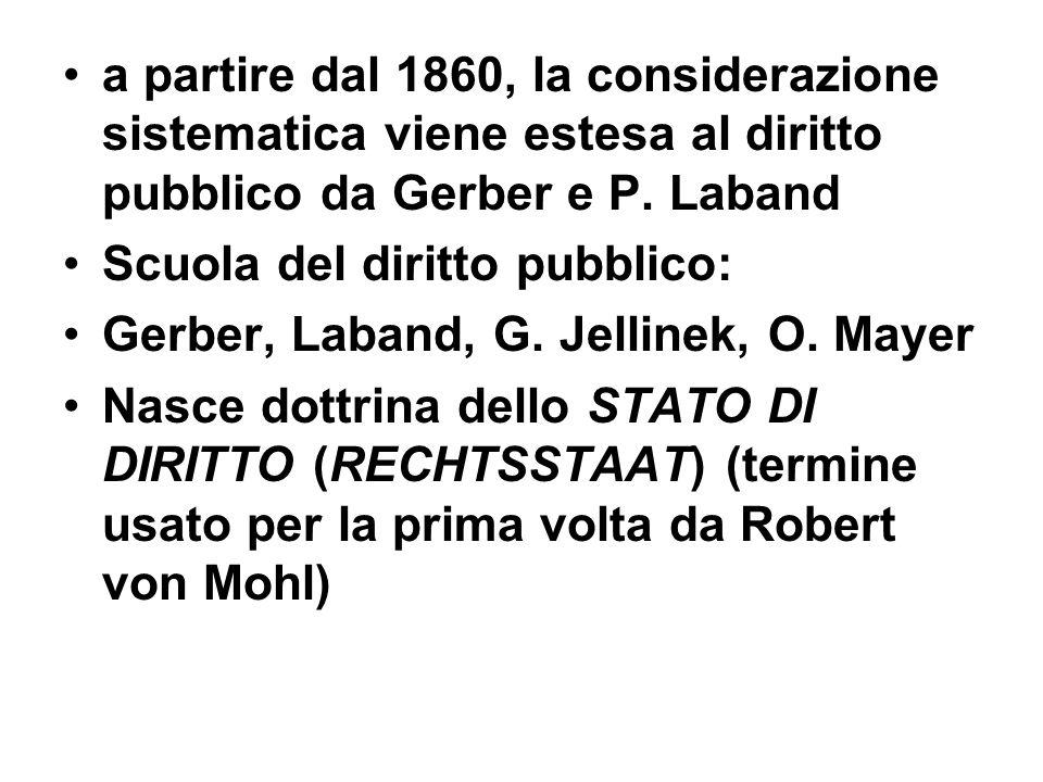 a partire dal 1860, la considerazione sistematica viene estesa al diritto pubblico da Gerber e P. Laband Scuola del diritto pubblico: Gerber, Laband,
