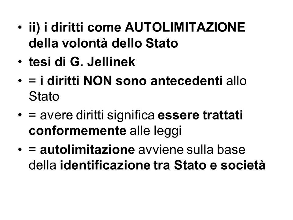 ii) i diritti come AUTOLIMITAZIONE della volontà dello Stato tesi di G. Jellinek = i diritti NON sono antecedenti allo Stato = avere diritti significa