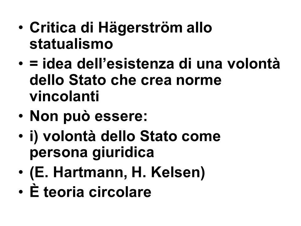 Critica di Hägerström allo statualismo = idea dell'esistenza di una volontà dello Stato che crea norme vincolanti Non può essere: i) volontà dello Sta