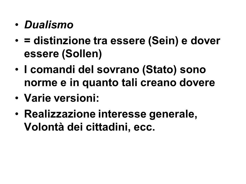 Dualismo = distinzione tra essere (Sein) e dover essere (Sollen) I comandi del sovrano (Stato) sono norme e in quanto tali creano dovere Varie version