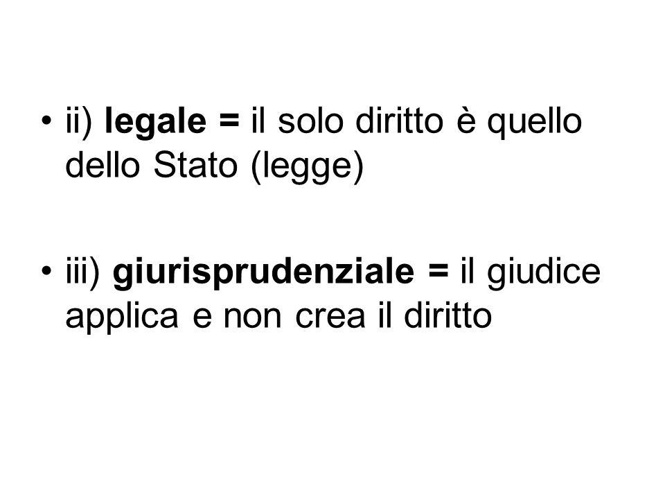 ii) legale = il solo diritto è quello dello Stato (legge) iii) giurisprudenziale = il giudice applica e non crea il diritto