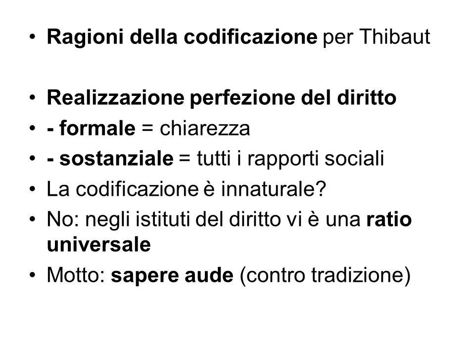 Ragioni della codificazione per Thibaut Realizzazione perfezione del diritto - formale = chiarezza - sostanziale = tutti i rapporti sociali La codific