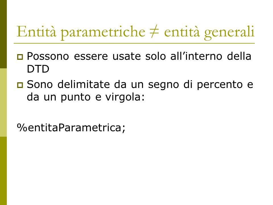 Entità parametriche ≠ entità generali  Possono essere usate solo all'interno della DTD  Sono delimitate da un segno di percento e da un punto e virgola: %entitaParametrica;
