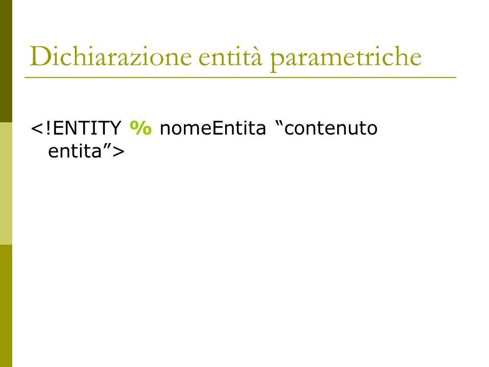 Dichiarazione entità parametriche