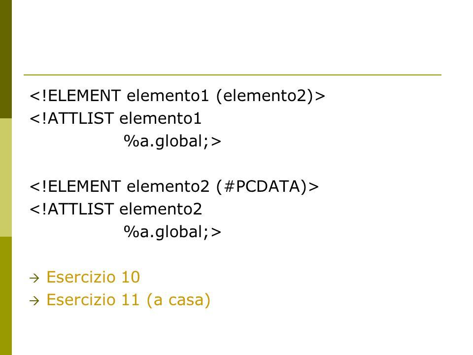 <!ATTLIST elemento1 %a.global;> <!ATTLIST elemento2 %a.global;>  Esercizio 10  Esercizio 11 (a casa)