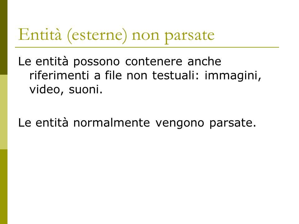 Entità (esterne) non parsate Le entità possono contenere anche riferimenti a file non testuali: immagini, video, suoni. Le entità normalmente vengono
