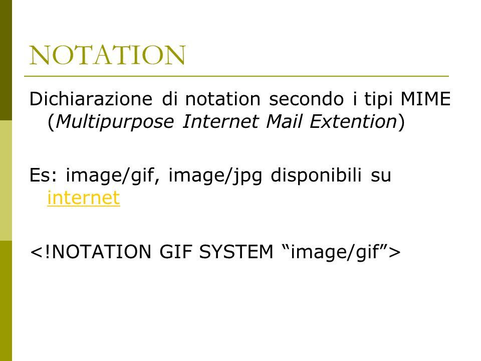 NOTATION Dichiarazione di notation secondo i tipi MIME (Multipurpose Internet Mail Extention) Es: image/gif, image/jpg disponibili su internet internet
