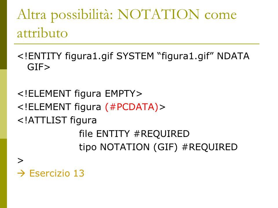 Altra possibilità: NOTATION come attributo <!ATTLIST figura file ENTITY #REQUIRED tipo NOTATION (GIF) #REQUIRED >  Esercizio 13