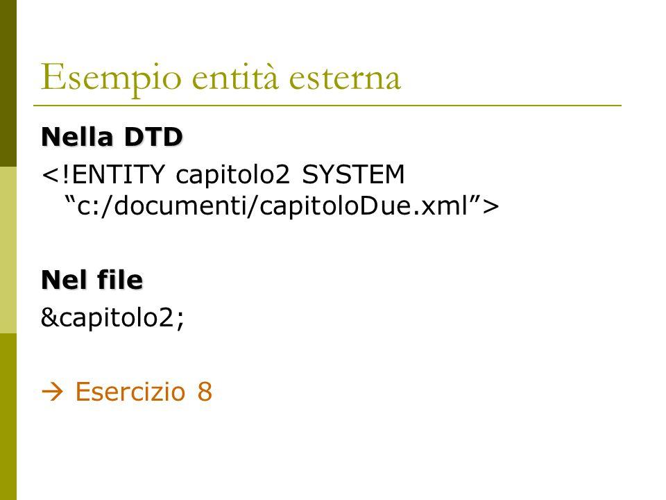 Esempio entità esterna Nella DTD Nel file &capitolo2;  Esercizio 8