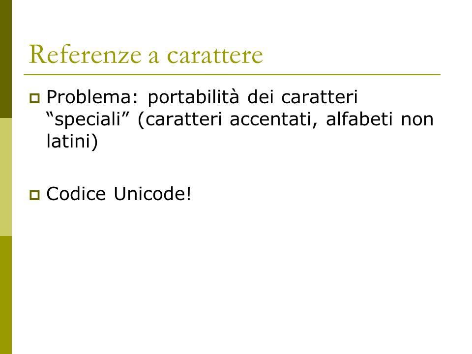 Referenze a carattere: sintassi Nel file XML &#[codice decimale Unicode]; &#x[codice esadecimale Unicode]; Esempio uso Tabella e Unicode EstesoTabellaUnicode Esteso è = è è = è