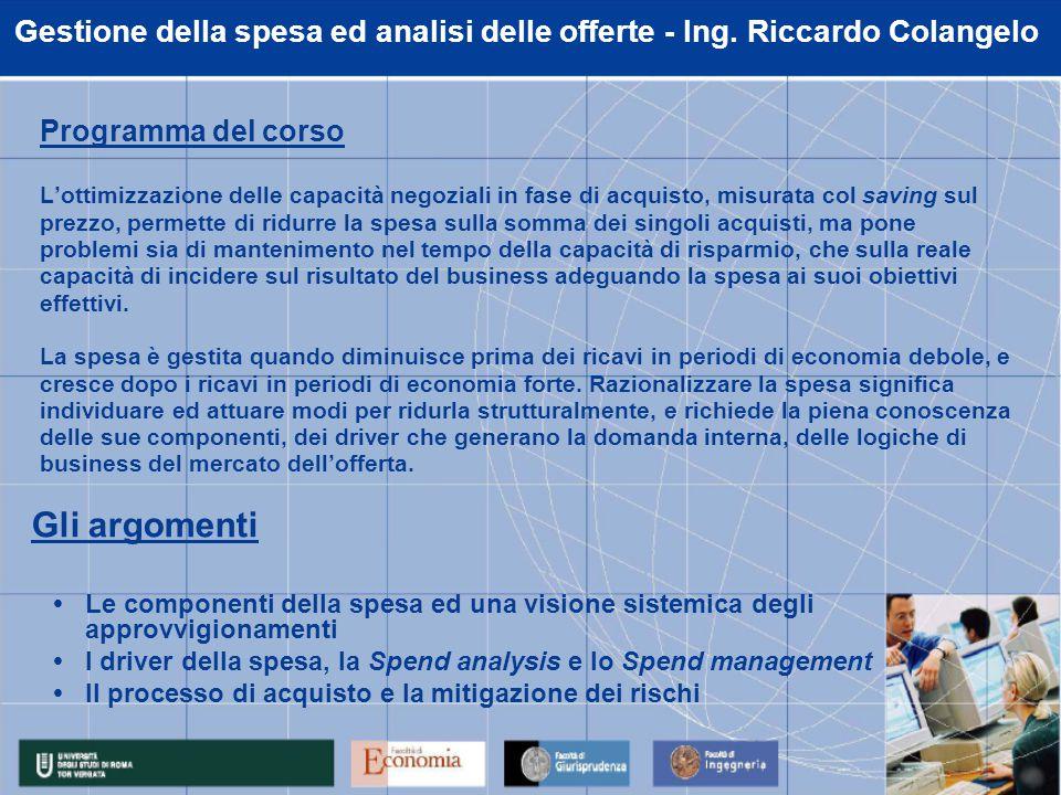 Gestione della spesa ed analisi delle offerte - Ing.
